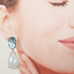 Conjunto colar e brinco de cristal gota - aquamarine leitoso  -