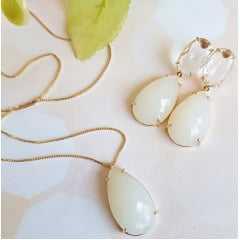 Conjunto colar e brinco de cristal gota - branco