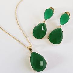 Conjunto colar e brinco gota cristal verde esmeralda