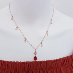 Conjunto colar e brinco de cristal vermelho rubi e zircônias