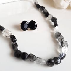 Conjunto Lady - colar e brinco de quartzo grafite rutilado e cristal preto ônix