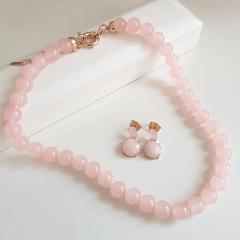 Conjunto quartzo rosa - colar curto e brinco