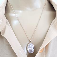 Conjunto colar curto e brinco de zircônia oval