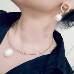 1 - Conjunto colar e brinco pérola shell