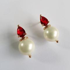 Conjunto colar e brinco pérola shell e cristal vermelho rubi