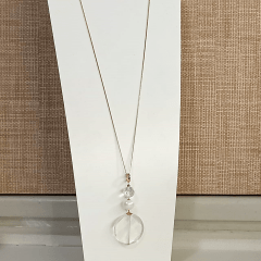 Conjunto cristal white com pérola shell - colar longo + brinco argola