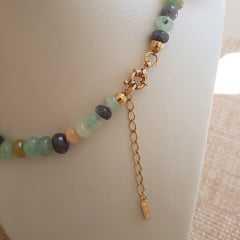 1-Conjunto de pedras naturais amazonita - colar + brinco