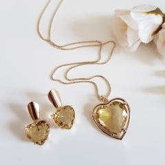 1-Conjunto coração cristal citrino - colar curto e brinco