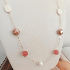 Conjunto cristais e pérolas  - colar longo + brinco