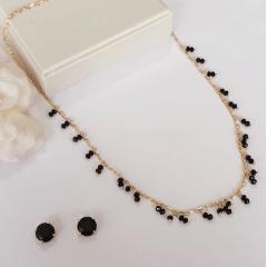 Conjunto cristais preto ônix - colar + brinco