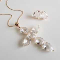Conjunto cruz cristal white - colar curto + brinco