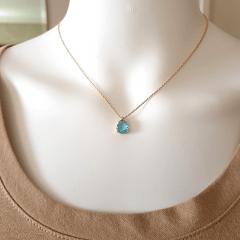 1-Conjunto Daily - pedra cristal azul aquamarine e zircônias - colar curto e brinco -1