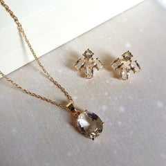 Conjunto Daily - pedra cristal white  - colar curto e brinco botão