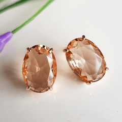 Conjunto de anel + brinco cristal pêssego morganita