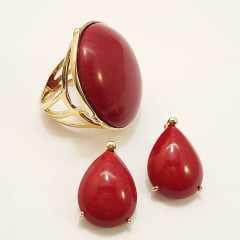 Brinco e  anel de resina cabochão vermelho: conjunto