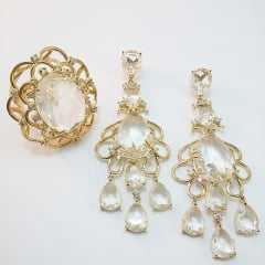 Brinco e anel pedra cristal white 15x20: conjunto