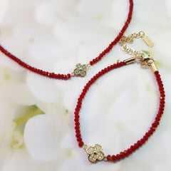 Conjunto de choker cristais vermelho com pulseira