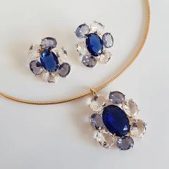 1-Conjunto de colar aro com pingente + brinco de cristais
