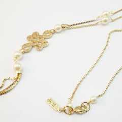 Conjunto de colar curto em Y - com pérolas Faux e  centro cravejado e franja longa com pulseira ajustável