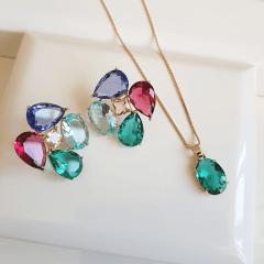 Conjunto de cristais multicolor colar e brinco - formato flor 3