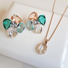 Conjunto de cristais multicolor colar e brinco - formato flor  4