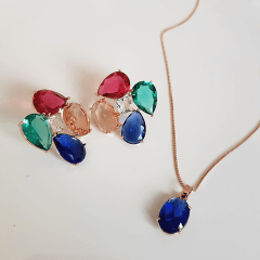 Conjunto de cristais multicolor colar e brinco - formato flor - 5