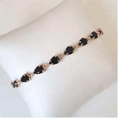 Conjunto de cristais gota preto ônix- pulseira e brinco