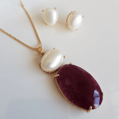 Conjunto de pedra natural rubilita e pérola shell - colar e brinco
