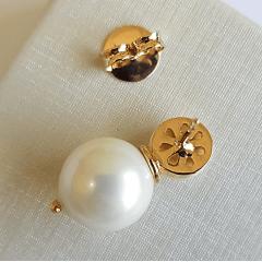 Conjunto de pérola shell  -  colar + brinco