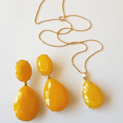 Conjunto clássico quartzo amarelo gota - colar e brinco