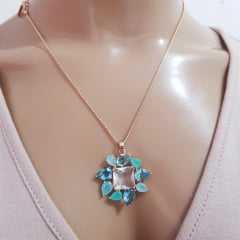 Conjunto Della Flora com cristais multicolor - modelo quadrado