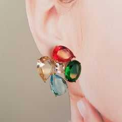 Conjunto Della Flora cristais multicolor - colar ao e brinco -2