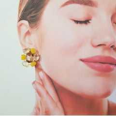 Conjunto Della Flora de cristais multicolor - amarelo