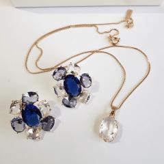 Conjunto Della Flora de cristais multicolor - azul