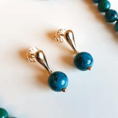 1-Conjunto Lady - pedras crisocola - colar e brinco