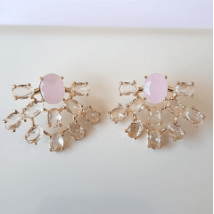 Conjunto leque de cristais rosa