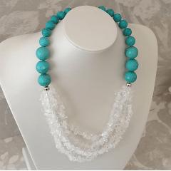 Conjunto pedras e cristais naturais    -   colar e pulseira