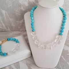 Conjunto pedras e cristais naturais  - colar + pulseira