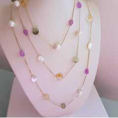 Conjunto pedras naturais - colar longo e brinco