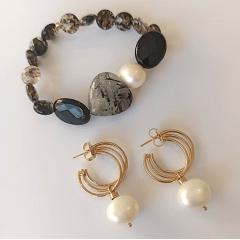 Conjunto pedras naturais e pérola shel : pulseira + brinco