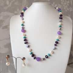 3-Conjunto gemas naturais - colar e brinco