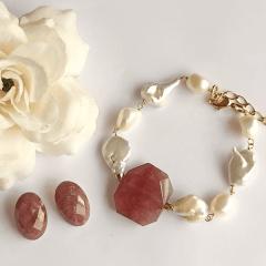 1-Conjunto pérola barroca e quartzo morango - pulseira e brinco