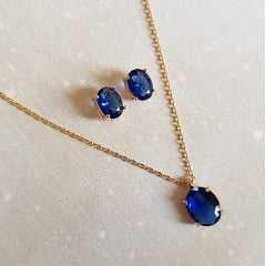 Conjunto Ponto de Luz- cristal azul safira 1- colar e brinco