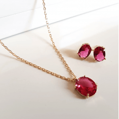 Conjunto Ponto de Luz- cristal rosa turmalina - colar e brinco