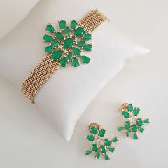 Conjunto pulseira bracelete com cristais verde esmeralda