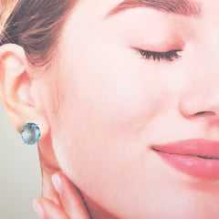 Conjunto pulseira e brinco de cristais azul aquamarine