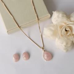 Conjunto quartzo rosa - colar + brinco