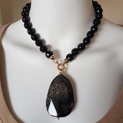 1-Conjunto Resort de pedras naturais preto ônix -  colar curto + brinco