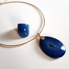 Conjunto Singular - pedra natural Ágata Azul