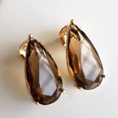 conjunto semijoia com cristal fumê  - colar curto e brinco